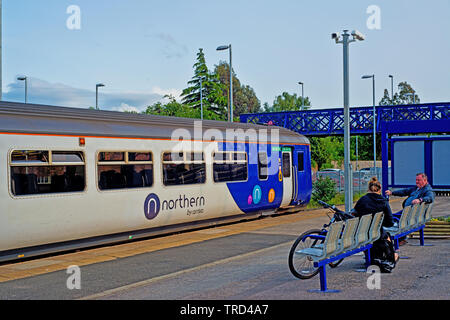 Northern Line Train waiting to depart from Eaglescliffe Station near Stockton on Tees Cleveland, England 2nd June 2019 - Stock Image