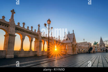 Budapest, Hungary - Sunrise at Fisherman's Bastion with clear blue sky - Stock Image
