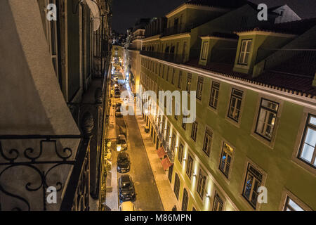 VIEW FROM BALCONY AT OLD CITY OF LISBON AT NIGHT - Stock Image