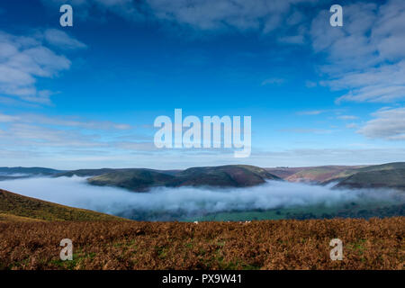 Mist filling the Stretton Valley and Ashes Hollow, Church Stretton, Shropshire - Stock Image