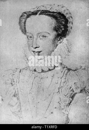 fine arts, Renaissance, portrait of a nobelwoman, possibly by Pierre Dumonstier (circa 1545 - 1625), drawing, 16th century, Additional-Rights-Clearance-Info-Not-Available - Stock Image