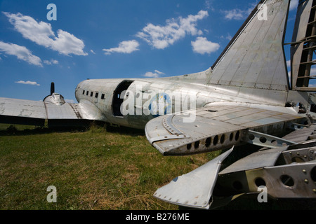 Derelict aircraft, C-47 Skytrain of ex JRV in Otocac, Croatia - Stock Image