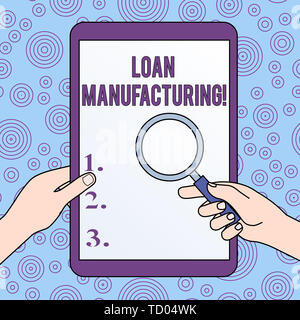 Conceptual hand writing showing Loan Manufacturing. Concept meaning Bank Process to check Eligibility of the Borrower Hands Holding Magnifying Glass A - Stock Image