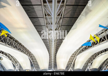 Interior curved ceiling / roof of Kansai International Airport, near Osaka, Japan. Japanese modern architecture; - Stock Image