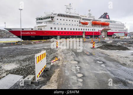 Hurtigruten ship MS Richard With, berthed at Bodø, Norway. - Stock Image