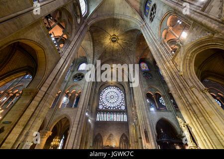 The interior of the Notre Dame de Paris, France - Stock Image