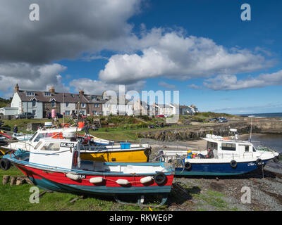 A view of some fishing boats at Craster in Northumberland. - Stock Image