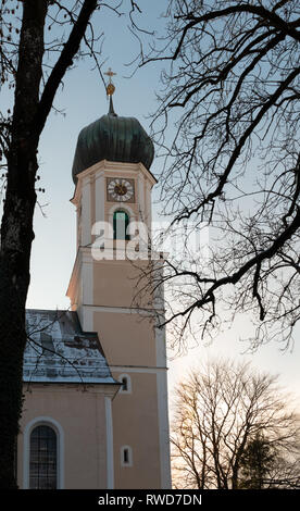 The Catholic Parish Church St. Peter and Paul exterior in Oberammergau, Germany - Stock Image