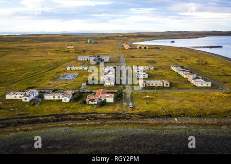 Abandoned town of Puerto Percy on the coast of Strait of Magellan, Chile - Stock Image