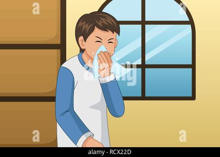 A vector illustration of Sick Man Blowing His Nose on a Tissue - Stock Image