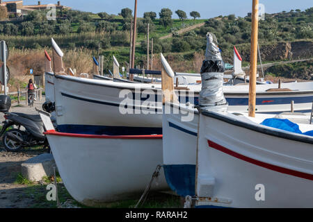 Port Lligat, small Mediterranean village. overlooking the bay of Cap de Creus, and home to the Spanish , surrealist artist Salvador Dalí for almost th - Stock Image