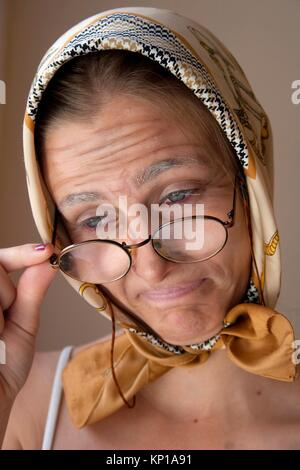 Granny fx, make up lessons - Stock Image