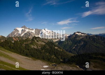 Mount Shuksan as seen from the Chain Lakes Trail, Mt Baker-Snoqualmie National Forest, Washington State, USA - Stock Image
