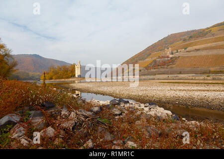 Rhine with low water near Bingen. 6th November 2018 - Stock Image