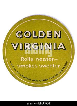 Vintage Beermat Advertising Golden Virginia Rolling - Stock Image