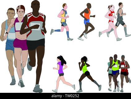 people running, detailed color illustration - vector - Stock Image
