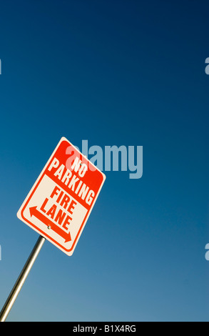 No Parking Fire Lane Sign - Stock Image