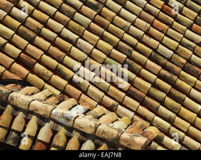 roof covering of ceramic rustic tiles, aerial view, background - Stock Image