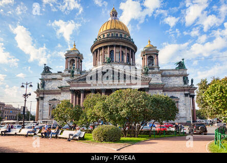 19 September 2018: St Petersburg, Russia - St Isaac's Cathedral, fourth largest cathedral in the world. - Stock Image