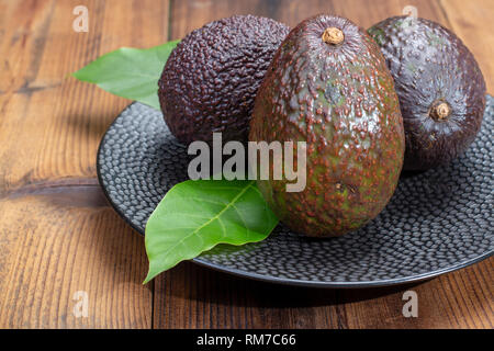 Ripe organic healthy hass avocado, new harvest  close up - Stock Image