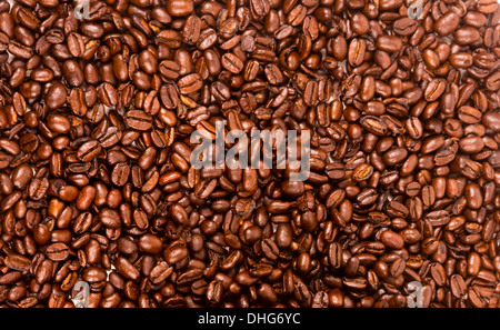 a flat pile group of roasted dark brown coffee beans - Stock Image
