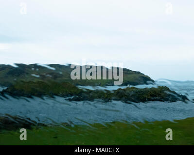 RS 8071  Calf of Man & The Sound in the rain, Isle of Man, UK - Stock Image