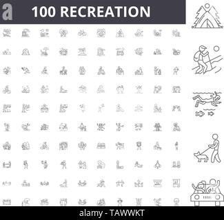 Recreation line icons, signs, vector set, outline illustration concept  - Stock Image