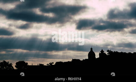 Silhouette of National Pantheon in Lisbon, Portugal. - Stock Image