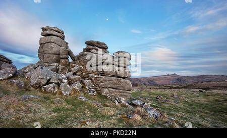 View from Hound Tor towards Haytor in Dartmoor National Park - Stock Image