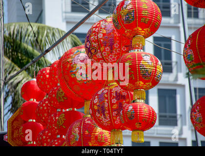 Decorative Red round Chinese lanterns hanging out for sale on the run up to Chinese New Year. - Stock Image