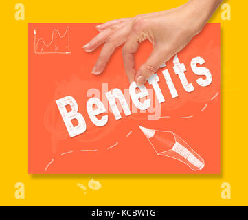 A hand picking up a Benefits concept on a colorful drawing board. - Stock Image