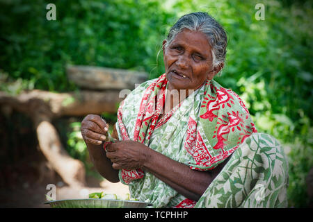 Poverty in Chennai, India, where an old lady with missing teeth and one eye sells produce at the side of the road are common - Stock Image