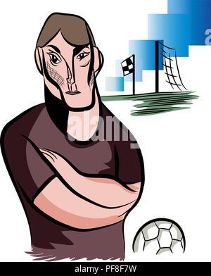 Senior football coach.  illustration of standing football coach in the football field. - Stock Image