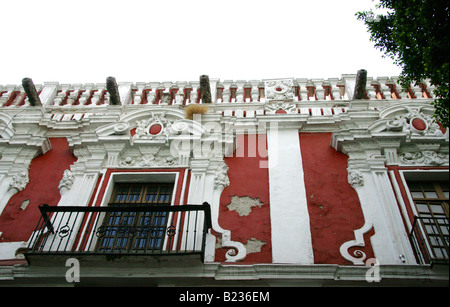 Facade of an Old Colonial House in Puebla City Mexico - Stock Image