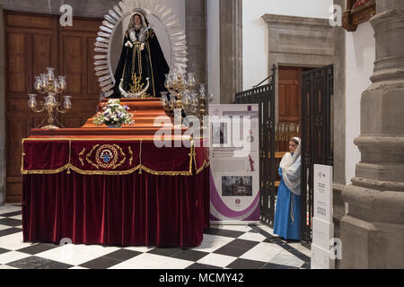 Tenerife, Canary Islands,Tenerife, Canary Islands, a float of the Virgin Mary in the Cathedral of San Cristobal de La Laguna. This will be taken through the streets during one of the Holy Week processions. - Stock Image