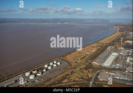 An aerial view of the Severn Estuary and bridges taken from Avonmouth, Bristol - Stock Image