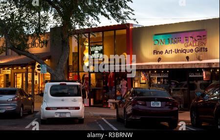 Shopping in Scottsdale, Arizona, at dusk. - Stock Image