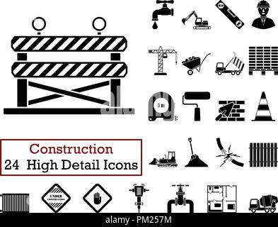 Set of 24  Construction Icons. Monochrome color design. Vector illustration. - Stock Image