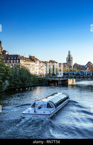 Strasbourg, Alsace, France, Batorama sightseeing river cruise boat, Ill river, late afternoon light, - Stock Image