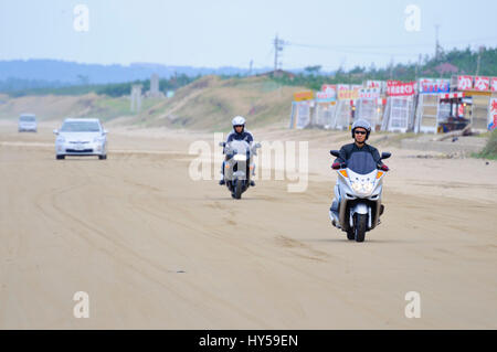 Chirihama Beach is well known in Japan as a beach on which traffic, including motorbikes, is legal. Noto Peninsula, - Stock Image