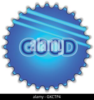 Big blue button labeled 'good' - Stock Image