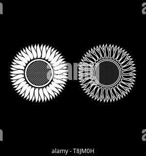 Sunflower icon outline set white color vector illustration flat style simple image - Stock Image