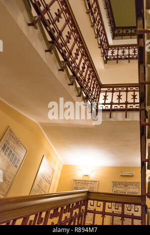 Vertical view up the staircase of La Scala in Milan, Italy. - Stock Image