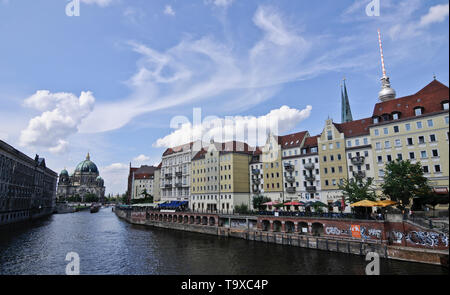 View of Berlin from Spree River, with the Berlin Cathedral and Fernsehturm (TV Tower) on the background Germany - Stock Image