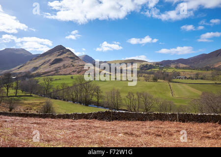 Newlands Beck with High Crags, Scope End and Low Snab in the English Lake District, UK. - Stock Image