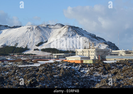 Svartsengi geothermal electrical power station near Grindavik, Iceland - Stock Image