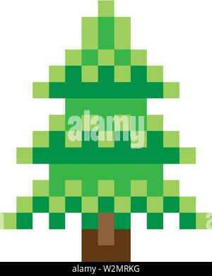 Tree Pixel 8 Bit Video Game Art Icon - Stock Image