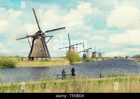 Netherlands traditional windmill landscape at Kinderdijk near Rotterdam in Netherlands. - Stock Image