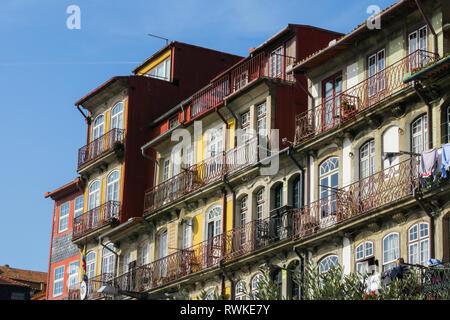 Typical colorful house facades in the old town of porto, portugal - Stock Image