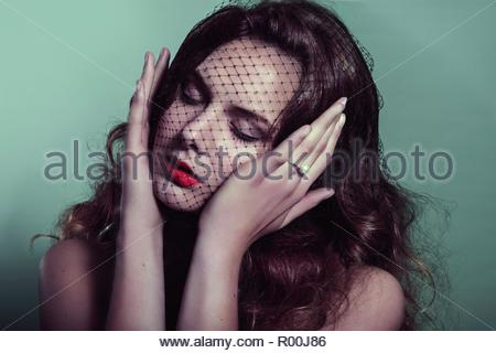 Model with veil - Stock Image